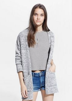 Flecked cardigan crafted in a cotton blend fabric. Winter Outfits, Cool Outfits, Fashion Outfits, Mango Fashion, Gingham Dress, Old Navy Women, Lace Ruffle, Collar Shirts, Cardigans For Women