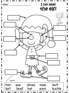 A+ Elf: Label The Parts Of An Elf Christmas Word Search, Christmas Math, Christmas Words, Preschool Christmas, Christmas Activities, English Worksheets For Kids, English Activities, Classroom Activities, Holiday Classrooms