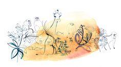 Watercolor illustration, animals
