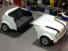 CAR SOFA WITH DESK... | Custom Mini Cooper Desk classic Car its Furniture made from a car for ...