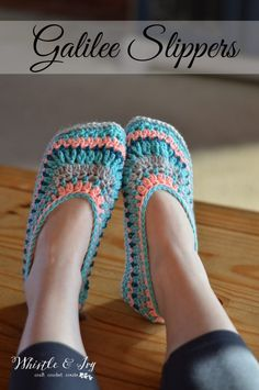 Crochet Pattern: Galilee Crochet Slippers   These gorgeous (and easy) slippers feature beautiful color changes. Cozy for your feet and fun to make.