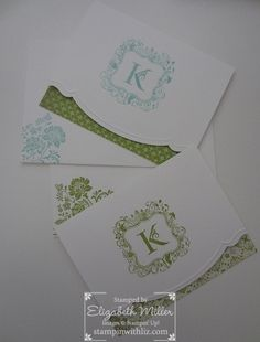 handmade notecard set ... monogramed cards ... like the cut edge ... great teacher or bride gift ... Stampin' Up!