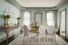 wall color House of Turquoise: Wythe Blue Wythe Blue, Palladian Blue, Dining Room Blue, Dining Room Colors, Dining Area, Dining Rooms, Kitchen Colors, House Of Turquoise, Turquoise Color