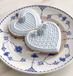 Soft wedgewood blue color. Fancy Cookies, Valentine Cookies, Iced Cookies, Cut Out Cookies, Cookie Desserts, Sugar Cookies, Cookie Recipes, Heart Cookies, Valentines