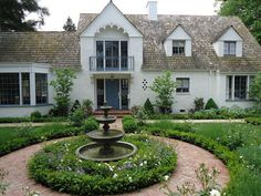 Traditional Landscape/Yard with Bay window, French doors, Classic Outdoor Water Fountain with Basin, Pathway Yard Water Fountains, Landscaping With Fountains, Garden Fountains, Outdoor Fountains, Circle Driveway Landscaping, Backyard Landscaping, Landscaping Ideas, Driveway Ideas, Lawn And Landscape