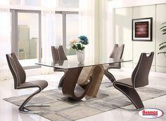 Moderno Juego de Comedor de 5 piezas. Incluye mesa con 4 sillas en color marrón.