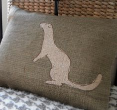 hand printed rustic olive weasel cushion by helkatdesign on Etsy