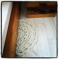 Ravelry: By your bed/Bathmat/Doormat Rug - Free Crochet Pattern pattern by Ooty Yaacobi. Used t-shirt yarn, love it.