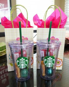 Cute idea for teacher at end of year or bridesmaids gifts. I'd also add a Starbuck's card. Afterall, if you're going to use one of their cups....
