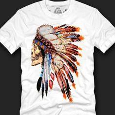White Skull Indian Chief Tees Men Cotton Tshirt Graphic Tops Clothing Korean Fashion
