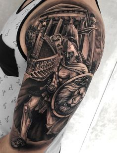 Spartan Warrior Arm Tattoo Custom Design Tattoo Ideas Check more at Warrior Tattoo Sleeve, Shoulder Armor Tattoo, Lion Tattoo Sleeves, Warrior Tattoos, Best Sleeve Tattoos, Viking Tattoos, Tattoo Sleeve Designs, Body Tattoos, Tattoo Designs Men
