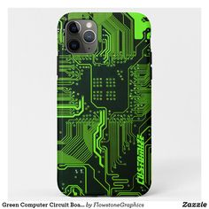 Shop Green Computer Circuit Board Case-Mate iPhone Case created by FlowstoneGraphics. Green Computing, Iphone 11, Iphone Cases, Computer Humor, Nerd Gifts, Geek Games, Pc Cases, Geek Humor, Circuit Board
