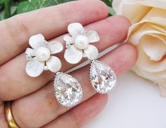 Bridal Earrings Bridesmaid Earrings Matte rodium plated flower ear posts with fresh water pearls and Cubic zirconia Tear drops.