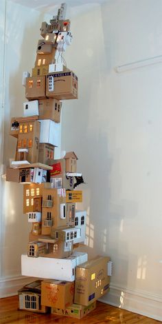 cardboard light houses