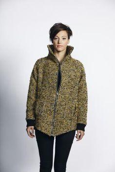 £110 Liquorish Mustard Tweed Zip Up Coat- New Women's Coat | Liquorish Clothing www.liquorishonline.com