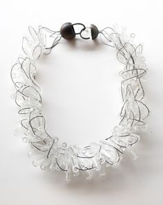 Borosilicate glass & oxidized silver show-stopper necklace by Karen Gilbert. Gallery Lulo.
