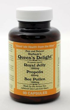 Durham's Queen's Delight (Royal Jelly 1000mg, Propolis 600mg, Beepollen 1500mg) in 3 Daily Capsules by Durham's Bee Farm, Inc., http://www.amazon.com/dp/B003ALLHLM/ref=cm_sw_r_pi_dp_CGfesb17MWFK4
