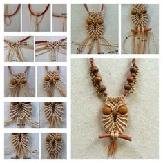 Small owl macrame necklace