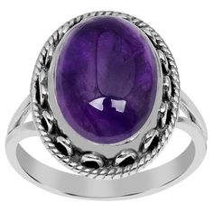 Orchid Jewelry 925 sterling silver 5-1/2 carat genuine amethyst ring (£35) ❤ liked on Polyvore featuring jewelry, rings, jewelry & watches, purple, sterling silver rings, oval ring, amethyst jewelry, cabochon jewelry and wide sterling silver rings