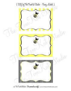 PRINTABLE FANCY LABELS - Bumble Bee Party Collection - The TomKat Studio