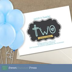 Guess who's Two Birthday Party Invite for Girl by SweetHammerPress