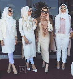 Hijabis in whites and neutrals. On point! Instagram photo by @honeyfordays
