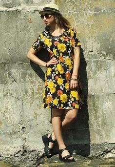 Vintage Sheer Sunflower Print Tunic Dress