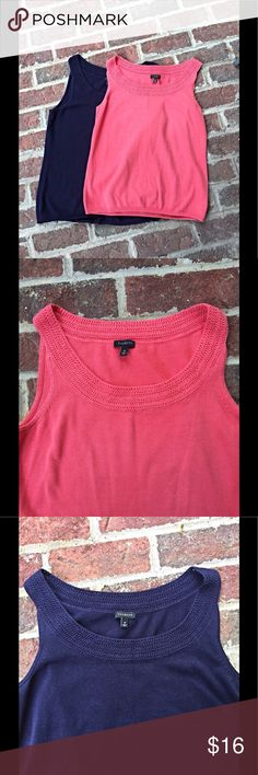 Bundle of 2 Talbots sleeveless sweaters Coral and navy sleeveless sweaters. 60% cotton, 40% rayon Talbots Tops