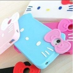 Hello Kitty bow tie soft case for iPhone 4G/4S. OMG......I GOTTA GET 1 OF THESE!