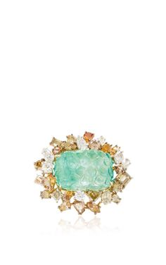 One Of A Kind Antique Carved Emerald And Natural Colored Fancy Shaped Diamond Ring by Kimberly McDonald