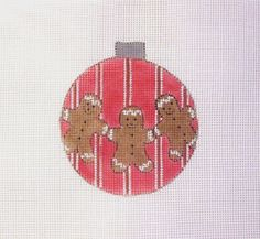 18 Ct Mesh Gingerbreads on Red w/Stripes Ornament Handpainted Needlepoint Canvas #Unbranded