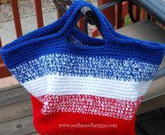 Patriotic crochet bag pattern for July 4th: American Striped Crochet Bag. By @Sara Eriksson Poshpooch