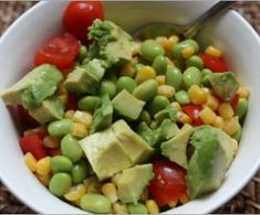 SO GOOD!!!quick and easy summer salad! cherry tomatoes, edamame, avocado, corn, olive oil, and lime juice...