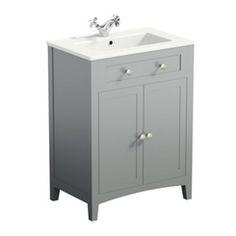 The Bath Co. Camberley satin grey vanity unit with traditional basin mixer Bathroom Sink Vanity Units, Grey Vanity Unit, Basin Vanity Unit, Bathroom Island, White Vanity, Traditional Bathroom Furniture, Grey Bathroom Furniture, Bathroom Interior, Grey Bathrooms