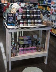 This is our Soap & Salt Station. A in-store display table with our full product line. Photo taken at Whole Foods Market, Rockville, Maryland, a DC suburb.