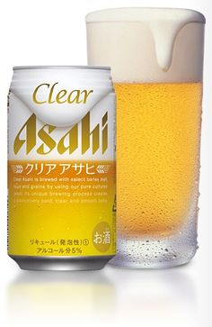 Cerveja Asahi Clear, estilo Japanese Rice Lager, produzida por Asahi Breweries, Japão. 5% ABV de álcool.