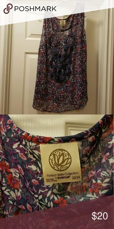 Floral Print Shirt Never worn.  Sleeveless tank style blouse.  100%polyester.  Smoke free and pet free home. NWOT Tops Blouses