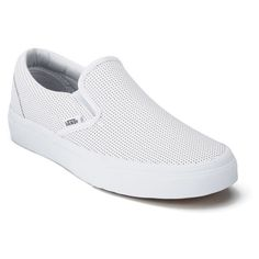 Vans Women's Classic Perforated Leather Slip-On Trainers (105 CAD) ❤ liked on Polyvore featuring shoes, sneakers, white leather sneakers, slip on shoes, leather shoes, white trainers and leather slip on shoes