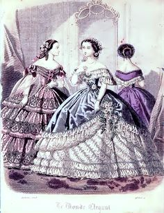 Le Monde Elegant evening gowns and coat 1860 Fashion Plate