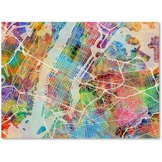 Trademark Fine Art New York City Street Map Canvas Art by Michael Tompsett, Size: 18 x 24, Multicolor