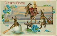 bunnies on pier, one rowing in egg
