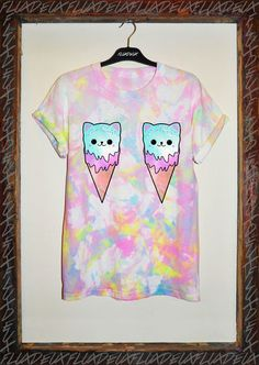 TIE DYE CAT ICE CREAM T SHIRT GRUNGE 90s VINTAGE KAWAII DROP GALAXY SWAG DEAD…