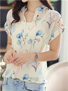 Ericdress V-neck Fresh Printing Blouse Cheap Blouses, Blouses For Women, Blouse Patterns, Blouse Designs, Casual Outfits, Fashion Outfits, Look Chic, Blouse Styles, Western Wear