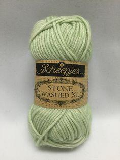 Sheepjes Stone Washed XL, New Jade, 859, Light green yarn, Cotton yarn by GoodFiberYarns on Etsy https://www.etsy.com/listing/262360736/sheepjes-stone-washed-xl-new-jade-859