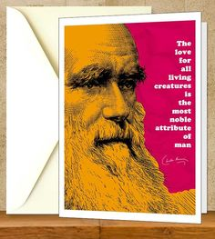 """Charles Darwin Inspiration Quote Greeting Card, Printable Colorful Instant Download Science Nerd Card, Typography Digital Educational Print.  Use the coupon code, """"PIN10"""" for 10% off on your entire purchase! Click to buy and print!"""