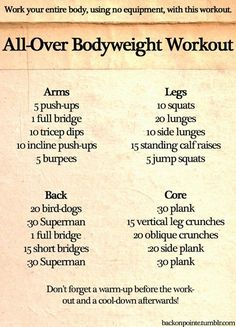 All-Over Bodyweight Workout - No equipment