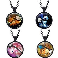 T-Queen 4 PCS Pokemon Go Game Mew Eevee Charizard Absol Fashion Cute Alloy Pendant Necklace Cosplay Jewelry