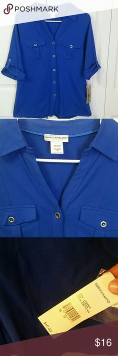 BEAUTIFUL BLUE! Perfect go to top this Spring!  A beautiful shade of blue tshirt material 3/ 4 sleeves with buttons,  EXCELLENT QUALITY! Rebecca Malone  Tops