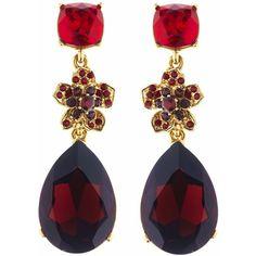 Oscar de la Renta Swarovski Crystal Flower Drop Pave Earrings ($415) ❤ liked on Polyvore featuring jewelry, earrings, holiday jewelry, long earrings, flower earrings, flower jewellery and pave earrings