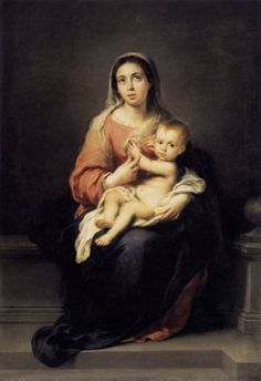Bartolome Esteban Murillo Madonna and Child, , Gemaldegalerie, Dresden. Read more about the symbolism and interpretation of Madonna and Child by Bartolome Esteban Murillo. Religious Paintings, Religious Art, Religious Images, Religious Icons, Divine Mother, Mother Mary, Francisco Goya, Esteban Murillo, Breastfeeding Art